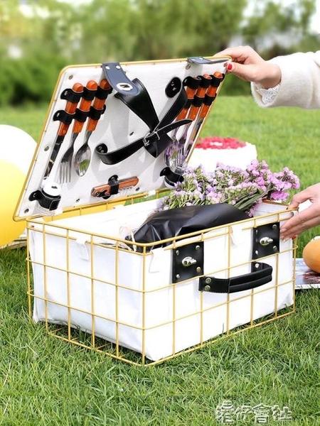 戶外野餐籃子鐵藝籃子帶蓋保溫防水水果零食收納籃大號手提籃 港仔HS
