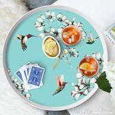 餐盤圓形創意北歐式套裝兒童茶幾水果盤客廳餐具家用水杯托盤酒店 深藏blue