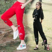2020夏民族風女裝 大尺碼寬鬆女褲子 刺繡花棉麻長褲小腳闊腿褲 十一週年降價