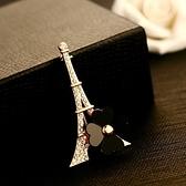 胸針 玫瑰金鑲鑽配件-巴黎鐵塔造型生日母親節禮物女胸章73bz2【巴黎精品】