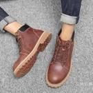 男鞋秋季英倫短靴男靴子韓版潮流新品中筒雪地靴男防水工裝鞋子男