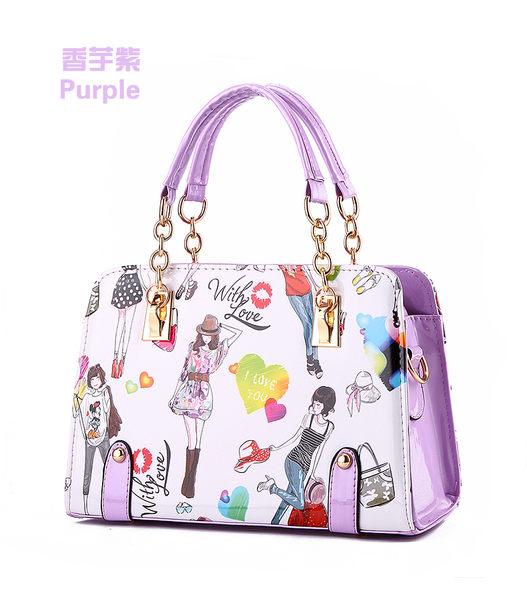 Star - 包包類 - 韓版紫色彩繪時尚女包-F25