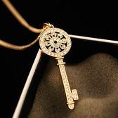 項鍊 玫瑰金純銀 鑲鑽吊墜-閃亮鑰匙生日情人節禮物女飾品73bw46【時尚巴黎】