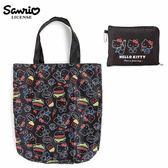 黑色款【日本正版】凱蒂貓 摺疊 購物袋 環保袋 手提袋 防潑水 Hello Kitty 三麗鷗 Sanrio - 984970