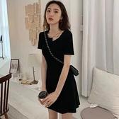 洋裝連身裙中大尺碼M-4XL新款流行赫本風心機小黑裙收腰顯廋氣質性感裙子4F051-621.皇潮天下