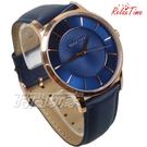 RELAX TIME Classic 經典系列 立體波紋簡約俐落男錶 真皮手錶 防水手錶 玫瑰金X藍 RT-88-3M