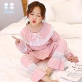 親子母女睡衣女童夏季裝中大兒童蕾絲套裝女孩家居服寶寶