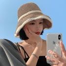 帽子女編織珍珠草帽夏季薄款遮陽防曬海邊沙灘大頭圍漁夫太陽帽涼 小天使