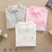夏季純棉polo衫休閒有領短袖女 學生可愛翻領運動t恤寬鬆女裝上衣