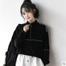 2020秋冬新款復古港風半拉鏈衛衣女寬鬆韓版立領黑色上衣休閑外套