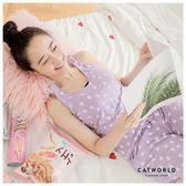 Catworld 泡沫之夏。莫代爾居家無袖BRA睡衣兩件組【16600305】‧M-2XL