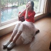 蕾絲裙(長裙)-網紗浪漫刺繡蓬蓬女裙子73x17【巴黎精品】