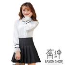EASON SHOP(GW5315)實拍簡約撞色線條袖口紗網拼接薄款前排釦POLO領長袖襯衫女上衣服閨蜜裝POLO衫
