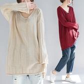 毛衣女中長款秋冬寬鬆大尺碼加厚V領套頭打底針織衫 折扣好價