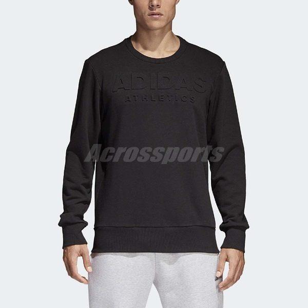 adidas 長T Logo Lineage Sweatshirt 男款 大學T 大學服 基本款 素面 黑 【PUMP306】 CV4552
