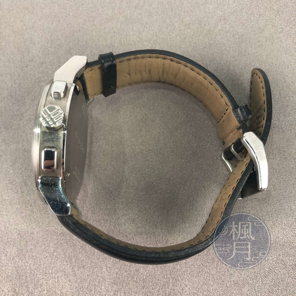 BRAND楓月 BURBERRY 巴寶莉 BU9356 黑格紋三眼錶 黑銀 皮革錶帶 藍寶石水晶玻璃錶鏡 手錶 腕錶