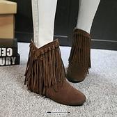 流蘇靴 新款流蘇靴平底大碼女靴磨砂圓頭內增高短靴女秋冬季加絨棉鞋 - 古梵希
