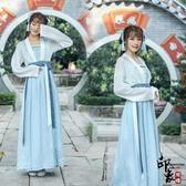 漢服古裝新改良日常漢服女繡花對襟襦裙齊腰民族風連身裙 降價兩天