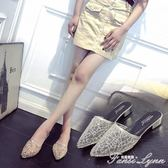 包頭拖鞋女夏中跟時尚外穿韓版防滑懶人尖頭涼拖透氣蕾絲網紗半拖 范思蓮恩