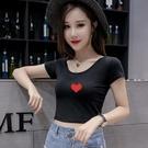 低胸上衣 高腰短款短袖t恤女性感漏腰露肚臍上衣女裝夏季圓領緊身打底衫女