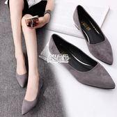【免運】夏新款淺口鞋尖頭女鞋平底粗跟單鞋低跟平跟黑色工作鞋瓢鞋