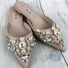 BRAND楓月 MIU MIU 珍珠 水鑽 粉色 穆勒拖鞋 涼鞋 低跟鞋