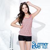 【夏之戀SUMMER LOVE】加大碼復古典雅長版兩件式泳衣(S16714)