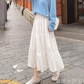 2021春款半身裙女中長款長裙白色A字裙蛋糕裙高腰春秋季大擺裙子 蘿莉新品
