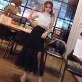 俏皮套裝女兩件套夏季韓版無袖短款上衣 高腰蕾絲拼接網紗半身裙
