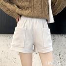 燈芯絨短褲女秋冬季新款外穿高腰秋款條絨褲裙闊腿百搭打底靴褲潮