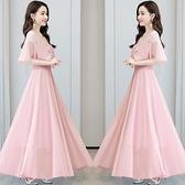 雪紡洋裝 2021年新款夏季復古洋氣質長裙子女大擺短袖收腰顯瘦高雪紡甜美連身裙