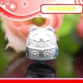 銀鏡DIY S990純銀DIY材料配件~立體Q版亮面貓咪招財貓墜飾(穿式)~適合手作蠶絲蠟線/幸運繩(非316白鋼)