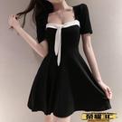 短袖連身裙 黑色氣質短袖短裙新款夏季法式復古高腰顯瘦性感露背連身裙子潮女 榮耀3C