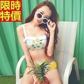 比基尼-音樂祭鳳梨圖案閃耀夏天日系甜美|兩件式泳衣-67h2【時尚巴黎】