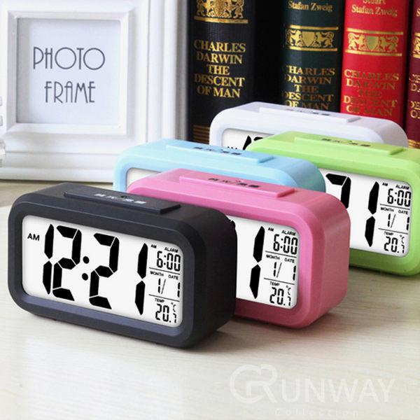 【24H】升級溫度版 智慧型靜音時鐘 貪睡電子鐘 光感鬧鐘 超大字幕 聰明鐘 時尚 創意LED鬧鐘