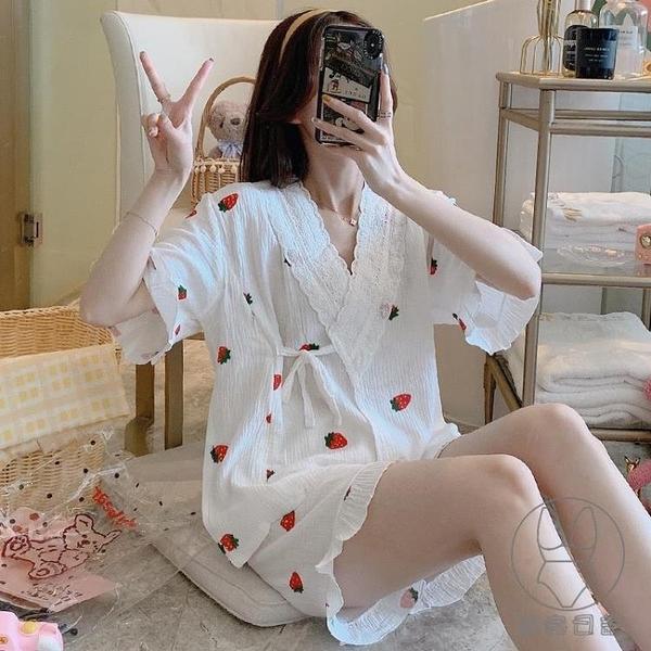 睡衣女士夏季日系短袖純棉紗布薄款和服家居服套裝【貼身日記】