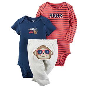 3件組長短袖包屁衣+長褲套裝:  帥氣小猴: 126G592