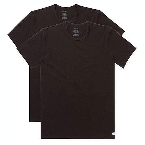 Calvin Klein 男棉質彈性圓領T衫2件裝(黑色)