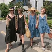 純色寬松顯瘦無袖中長款連身裙短裙A字裙【時尚大衣櫥】