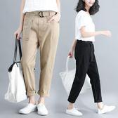 大尺碼褲子 工裝褲女夏季2019新款寬松大碼高彈休閒長褲