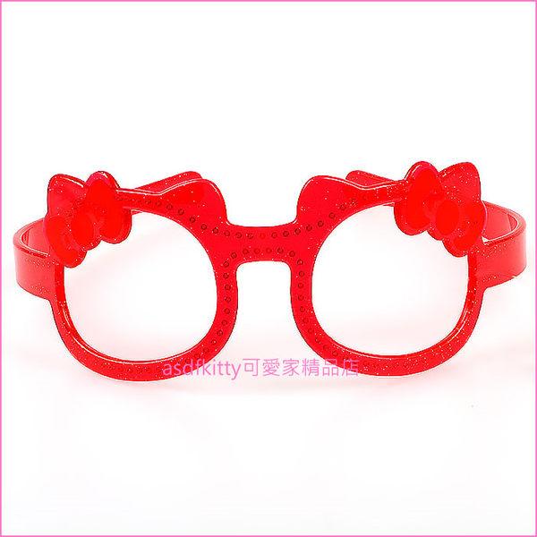 asdfkitty可愛家☆KITTY紅色眼鏡造型髮箍/髮圈-日本正版商品