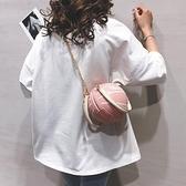 可愛籃球包包女2020新款個性ins百搭小圓包網紅粉色手提斜挎包潮 【端午節特惠】