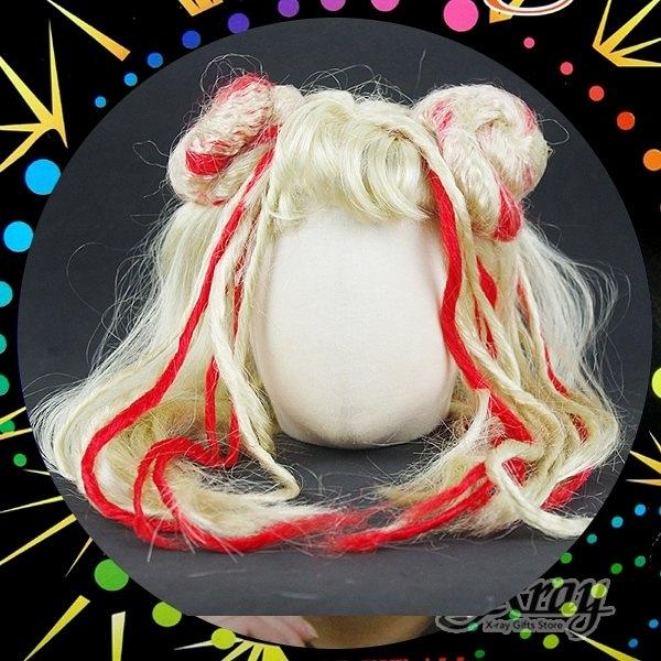 節慶王【W000410】春麗假髮(金色+紅色挑染),萬聖節服裝/表演道具/造型假髮/角色扮演