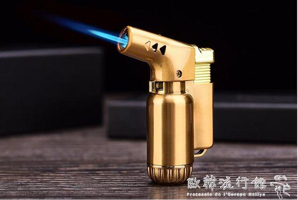 打火機   耐高溫金屬創意直沖防風充氣打火機個性噴槍點火器雪茄焊槍打火機  歐韓流行館