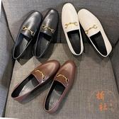 英倫風小皮鞋平底鞋一腳蹬樂福鞋【橘社小鎮】