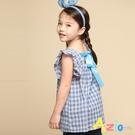 Azio 女童 上衣 後綁帶格紋長版荷葉袖上衣(藍) Azio Kids 美國派 童裝