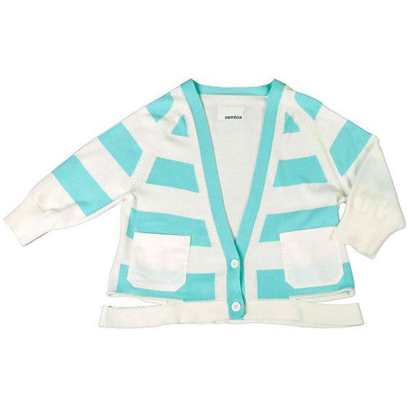 針織衫 摩達客 美國LA設計品牌【Suvnir】藍白橫紋 針織衫 外套(11912082009)