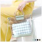 包中包-可愛格子鬆餅手提/斜背果凍包中包-共4色-A15152352-天藍小舖