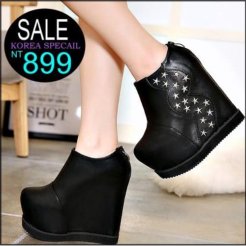 克妹Ke-Mei【ZT95316】Rihanna歐美龐克金屬星星鉚釘超高厚底楔型靴