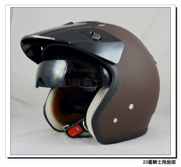 【ZEUS ZS 381C 素色款 消光咖啡 復古帽 瑞獅安全帽】隱藏式遮陽鏡片、加贈原廠耐磨鏡片